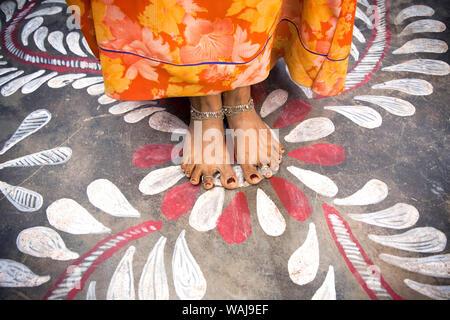 India, Rajasthan. Woman's bare feet with rangoli design. Credit as: Jim Nilsen / Jaynes Gallery / DanitaDelimont.com - Stock Photo