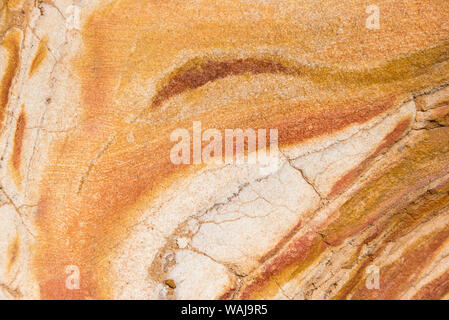 Australia, New South Wales, Sydney. Eastern Beaches. Bondi to Coogee Coastal Walk Patterns in sandstone - Stock Photo