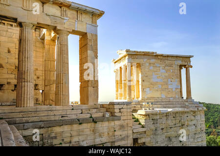 Temple of Athena Nike, Propylaea Ancient entrance gateway ruins Acropolis, Athens, Greece. Construction ended in 432 BC, temple built 420 BC. Nike in Greek means victory. - Stock Photo
