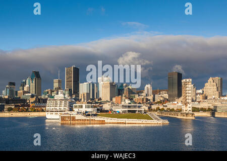 Canada, Quebec, Montreal. City skyline from the St. Lawrence River - Stock Photo