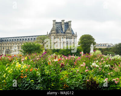 Louvre Museum and Tuileries Garden - Stock Photo