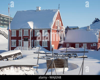 Knud Rasmussen's Museum. Ilulissat at the shore of Disko Bay, center for tourism, administration and economy. The icefjord nearby is listed as UNESCO World Heritage Site. Greenland, Denmark. (Editorial Use Only) - Stock Photo