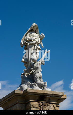 Notre Dame des Naufrages statue in Pointe du Raz - Stock Photo