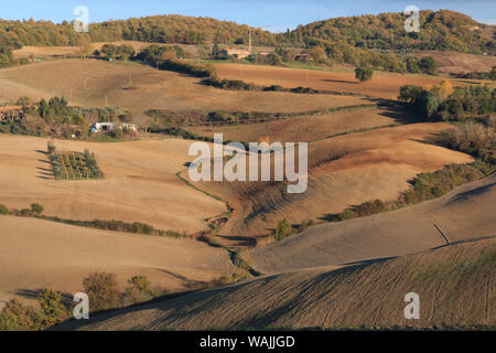 Italy, Val d'Orcia in Tuscany, province of Siena, Monticchiello. View from town over harvested fields. - Stock Photo