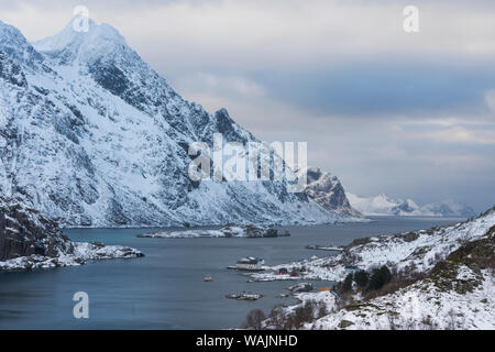 Norway, Lofoten Islands, Vestvag Island, Unstad. View of the rocky coastline on the way to Unstad. - Stock Photo