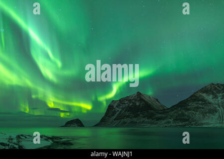 Norway, Lofoten Islands, Vestvag Island, Leknes. The aurora borealis shimmering over the coastline near Leknes. - Stock Photo