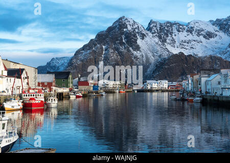 Norway, Lofoten Islands, Vestvag Island. A fishing village is set among dramatic mountains. - Stock Photo