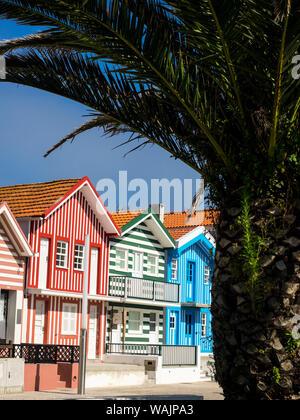 Portugal, Costa Nova. Colorful Houses Palheiros - Stock Photo