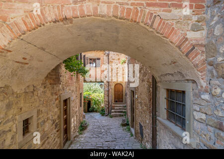A view of the ancient medieval village of Montefioralle, Tuscany, Italy - Stock Photo