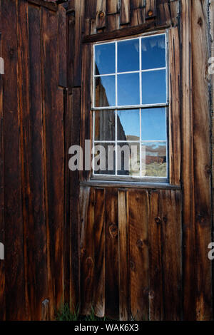 USA, California, Bodie State Historic Park. Weathered window in abandoned town. Credit as: Dennis Flaherty / Jaynes Gallery / DanitaDelimont.com - Stock Photo