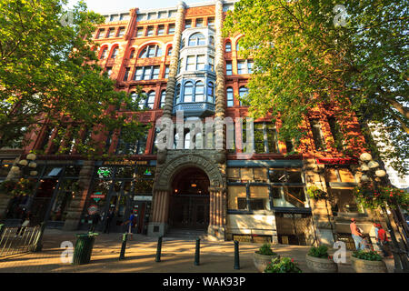 Pioneer Square, historical area, Seattle, Washington State, USA. Pioneer Building - Stock Photo