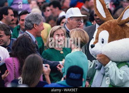 April 01, 1993. Washington, D.C. President William Jefferson Clinton and First Lady at the White House Easter egg roll. - Stock Photo