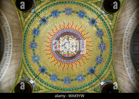 USA, Washington D.C. Basilica of the National Shrine of the Immaculate Conception ceiling - Stock Photo