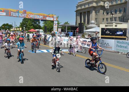 Twilight Criterium, Kids Race. Boise, Idaho, USA. (Editorial Use Only) - Stock Photo