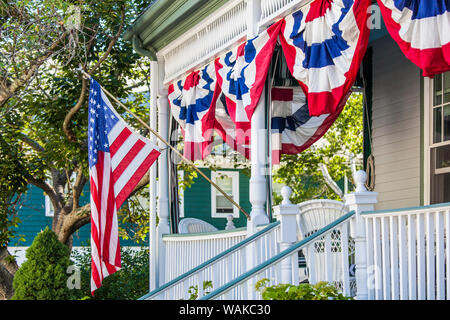 USA, Massachusetts, Cape Ann, Manchester by the Sea. Fourth of July, US flags - Stock Photo