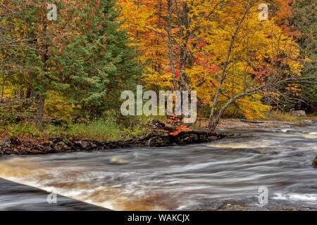 Sturgeon River in autumn near Alberta in the Upper Peninsula of Michigan, USA - Stock Photo
