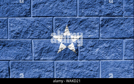 Flag of Somalia close up painted on a cracked wall - Stock Photo