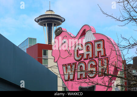 Landmark sign for Elephant Car Wash near downtown Seattle and the Space Needle. (Editorial Use Only) - Stock Photo