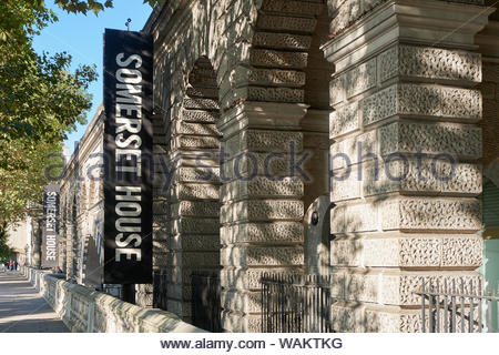 London, UK. 30th September, 2018. Somerset House, an arts and entertainment venue, is lit by dappled autumn sunlight. - Stock Photo