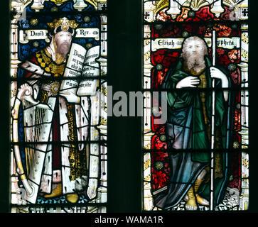 East Window stained glass detail, King David and Elijah, St. John the Baptist Church, North Luffenham, Rutland, England, UK - Stock Photo