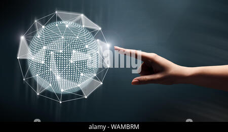 Woman touching global network on black background - Stock Photo