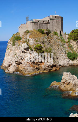 Fort Lovrijenac in Dubrovnic (Croatia) as seen from the city wall. Fort Lovrijenac or St. Lawrence Fortress, often called 'Dubrovnik's Gibraltar', is - Stock Photo