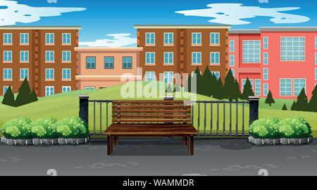 Empty park scene with buildings in background illustration - Stock Photo