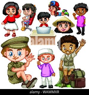 Boys and girls doing different actions illustration - Stock Photo