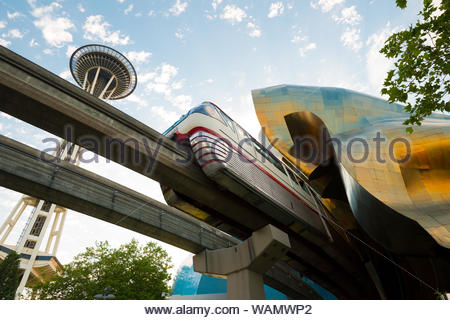 EMP Museum designed by Frank Gehry and monorail, Seattle Center, Seattle, Washington State, USA - Stock Photo