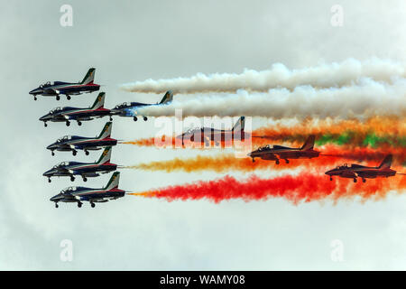 Frecce tricolori, aerobatic demonstration team of the Italian Air Force - Stock Photo