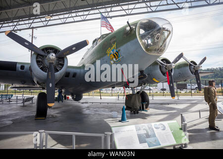 Boeing B-17 Flying Fortress is a four-engined heavy bomber, Boeing Museum of Flight, Boeing Field, Tukwila, Washington State, USA - Stock Photo