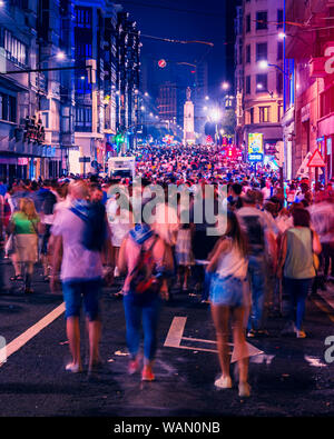 18/08-19, Bilbao, Spain. Colorfull Calle Buenos Aires, during Aste Nagusia (Bilbao festivities) crowded with people enjoying the festival. - Stock Photo