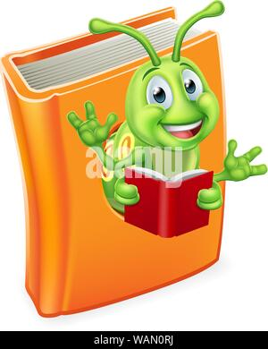 Caterpillar Bookworm Worm in Book Reading - Stock Photo