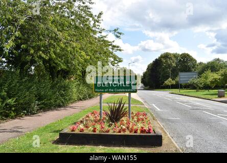 Bletchley, Milton Keynes is home to Bletchley Park, where the codebreakers (most notably Alan Turing) worked during WW2. - Stock Photo