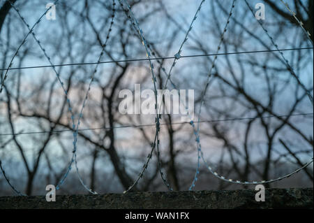 Barbed wire on fence with sky. Selective focus. - Stock Photo