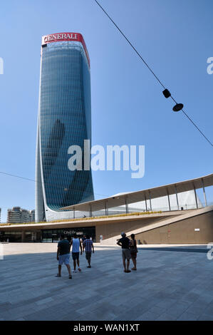 Italy, Lombardy, Milan, CityLife, Hadid Tower designed by Zaha Hadid Architect - Stock Photo
