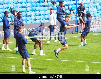"London, UK. 21st Aug, 2019. Signalling a new era for ""loyal local fans"" Chelsea introduced Frank Lampard's new management team which included former players Tore André Flo and Petr Čech and did a rare training session at Stamford Bridge Stadium. Credit: Brian Minkoff/ Alamy Live News - Stock Photo"