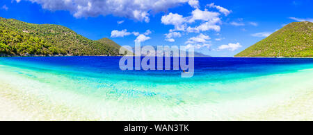 amazing turquoise sea and beaches of Kefalonia (Cefalonia). Ionian islands of Greece - Stock Photo