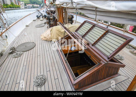 Entrance to the cabins of an old schooner - Stock Photo