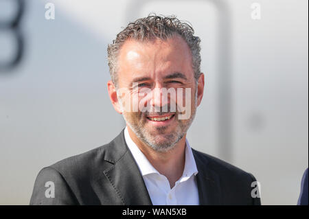 Schkeuditz, Germany. 21st Aug, 2019. Thomas Jarzombek, Federal Government Commissioner for Aerospace, is at Leipzig-Halle Airport. Credit: Jan Woitas/dpa-Zentralbild/dpa/Alamy Live News - Stock Photo