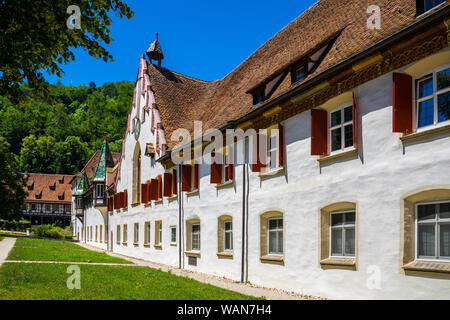 Germany, Historic outer walls of german monastery called blaubeuren abbey in village next to popular tourist destination of blautopf source - Stock Photo