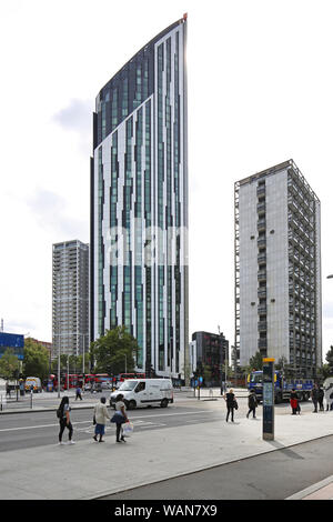 Strata Tower, (also called The Cigarette Lighter) a new residential tower block next to Elephant and Castle Station in south east London, UK.