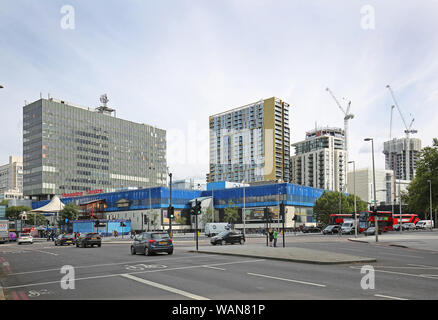 The delapidated shopping centre at Elephant and Castle in southeast London, UK. New residential development 'Elephant Park' in background (right).