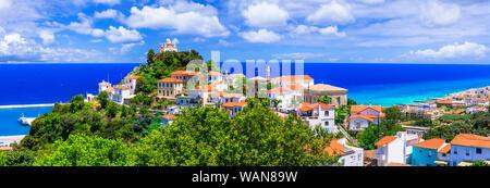 Samos island, travel in Greece. Karlovasi. beautiful view of old town
