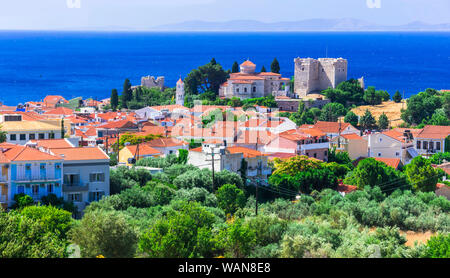 Landmarks of Samos island , Pythagorion town view with castle - Stock Photo