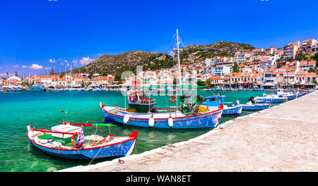 Samos island. beautiful Pythagorion old town. view with fishing boats. Greece - Stock Photo
