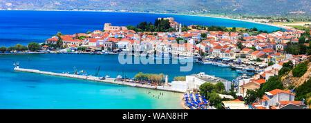 Beautiful Pythagorion village,Samos island,panoramic view,Greece. - Stock Photo