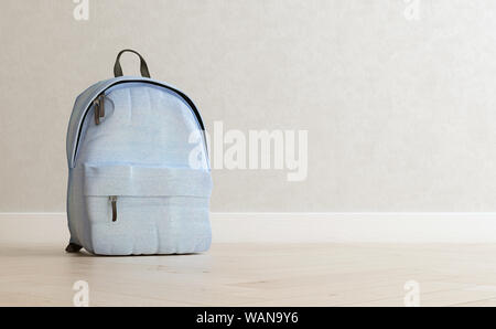 Realistic baby blue backpack on the wooden floor and light beige wall in the background, close up, mock-up, poster, 3d rendering - Stock Photo