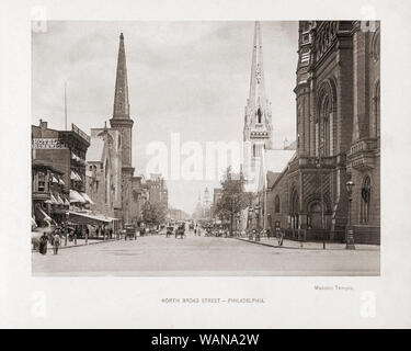 North Broad Street, Philadelphia, Pennsylvania, USA, in the late 19th century.  From the book The United States of America - One Hundred Albertype Illustrations From Recent Negatives of the Most Noted Scenes of Our Country, published 1893. - Stock Photo