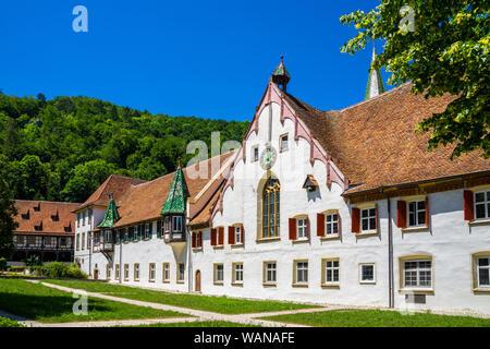Germany, Beautiful ancient walls of german monastery of blaubeuren abbey in village next to famous tourist destination of blautopf source - Stock Photo